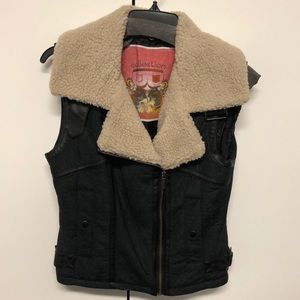 Faux Suede/Shearling Vest Size Small